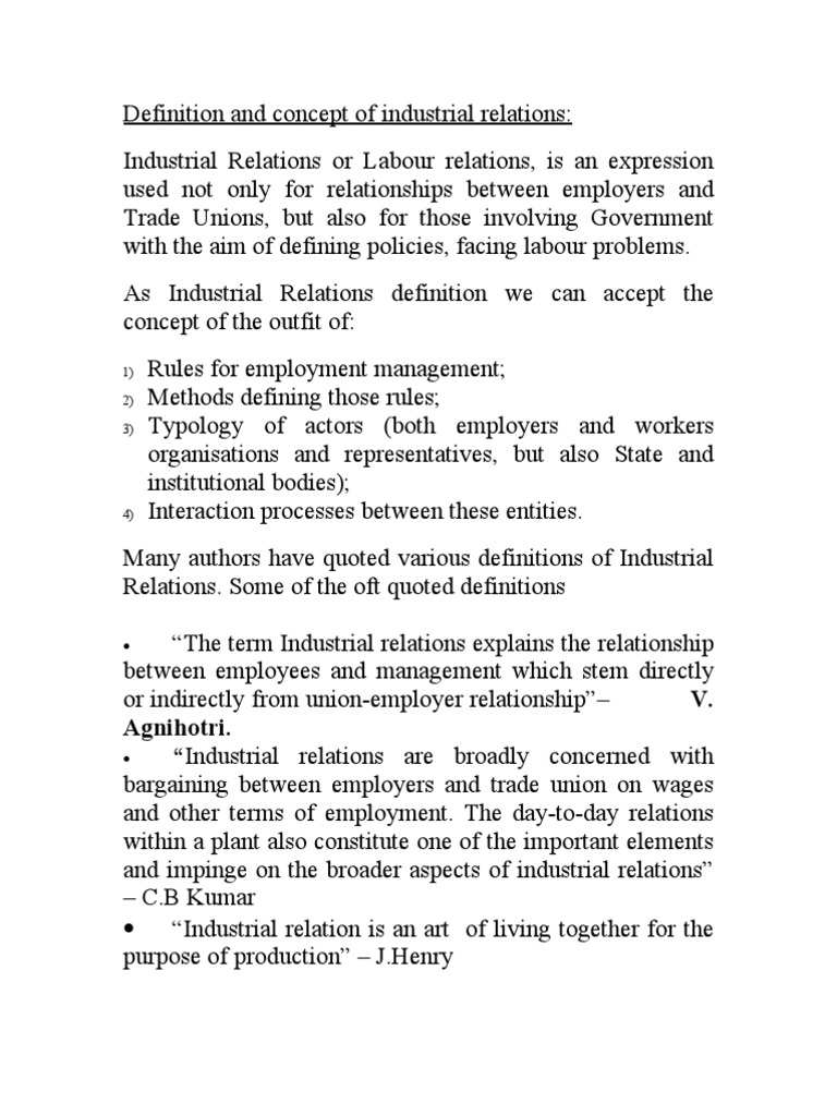 industrial relations doc It established the national labor relations board and addressed relations   after the national industrial recovery act was declared unconstitutional by the.
