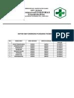 Daftar Obat Emergensi Puskesmas Tigabinanga