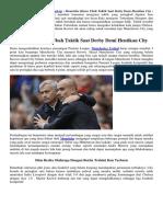 Mourinho Harus Ubah Taktik Saat Derby Demi Hentikan City