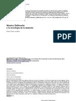 Maurice Halbwachs y La Sociologia de La Memoria Marie Claire Lavabre