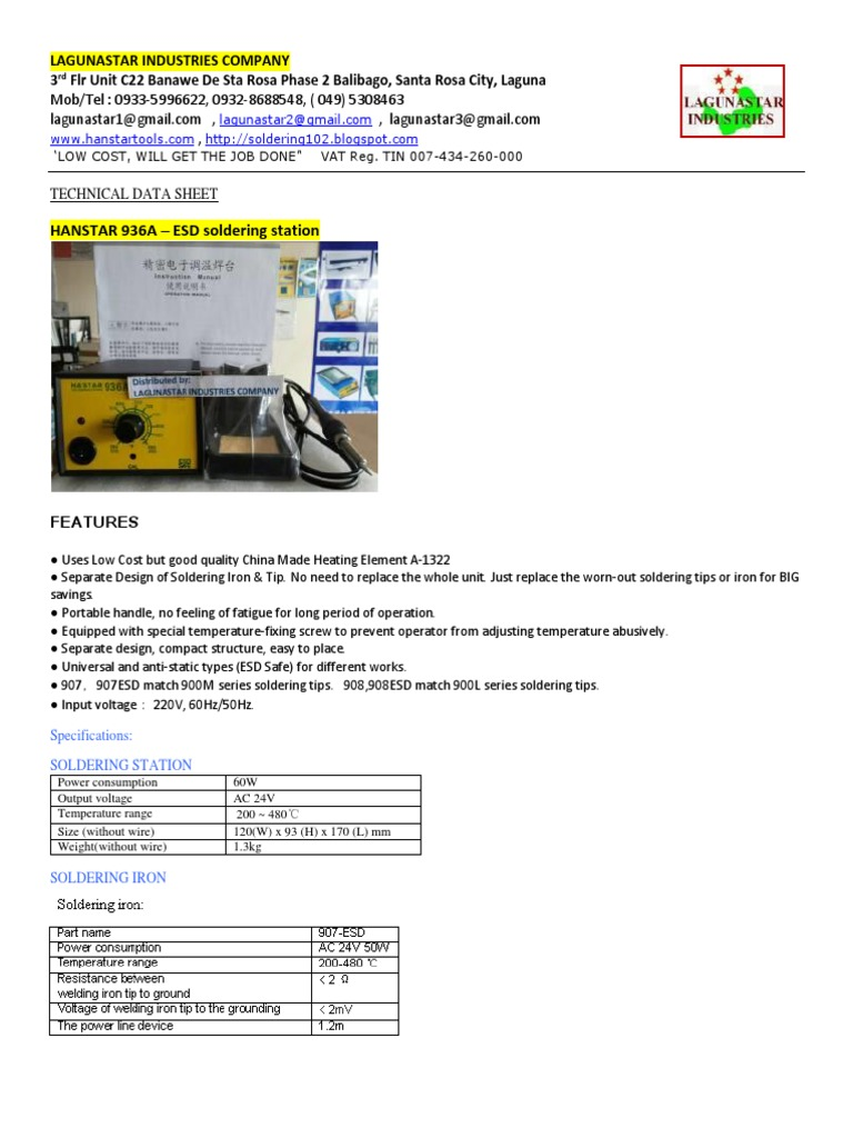 1 Tds Soldering Stations All Models Ok Electrostatic Lg Lcd Monitor Flatron L1718s Service Manual Discharge