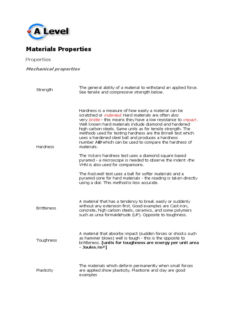 Materials Properties docx   Hardness   Electrical