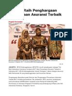BPJSTK Raih Penghargaan Perusahaan Asuransi Terbaik 2017