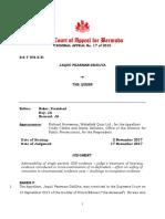 """Criminal Appeal No 17 of 2015 - JaQuii Pearman DeSIlva v the Queen """"Judgment"""""""