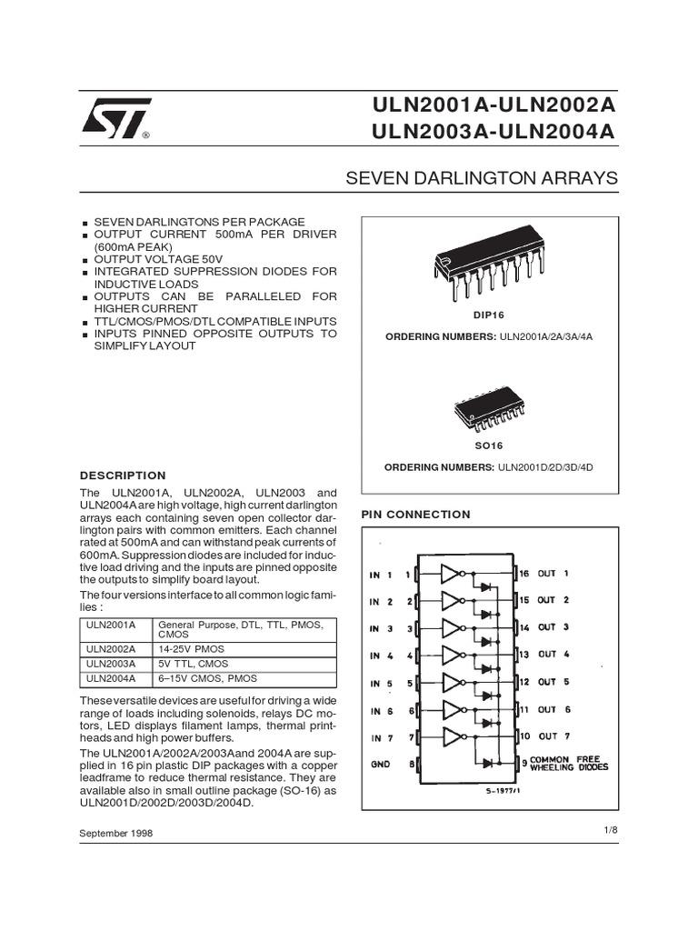 Datasheetpdf Cmos Electrical Components Ic Uln2003