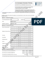 Form to Accompany Transcript of Training Revised