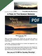 Pastor Bill Kren's Newsletter - November 26, 2017