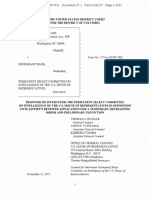 Response Of Intervenor on the House Permanent Select Committee on Intelligence In Opposition To Fusion GPS's Renewed Application For a Temporary Restraining Order