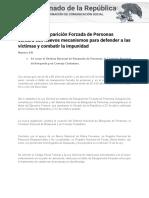 20-11-17 La Ley de Desaparición Forzada de Personas contará con nuevos mecanismos para defender a las víctimas y combatir la impunidad