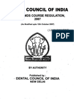 MDS Course Regulations 2007 Alongwith Amendments