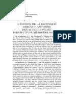 Gounelle - L'Édition de la recension grecque ancienne des Actes de Pilate_Perspectives methodologiques - 2011.pdf