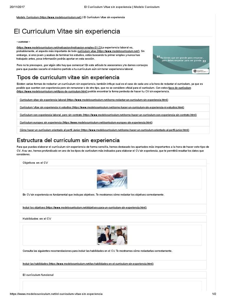 El Curriculum Vitae Sin Experiencia Modelo Curriculum Ciencia