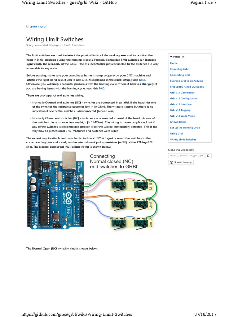 Grbl Wiring Limit Switches | Printed Circuit Board | Switch | Cnc Limit Switch Wiring Diagram Arduino |  | Scribd
