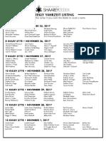 November 25, 2017 Yahrzeit List