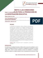 Un Acercamiento a Las Condiciones Institucionales Para La Produccion de La Investigacion Educativa