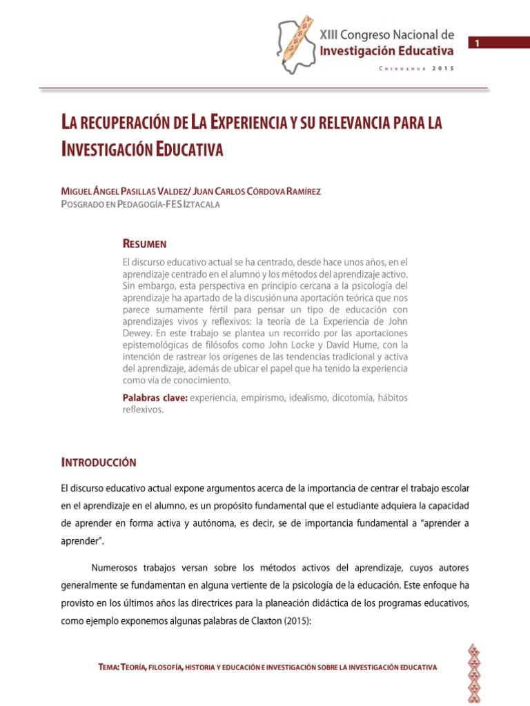 La Recuperacion de La Experiencia y Su Relevancia en La ...