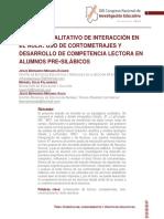 Analisis Cualitativo de Interaccion en El Aula. Cortometrajes y Desarrollo de Competencia Lectora