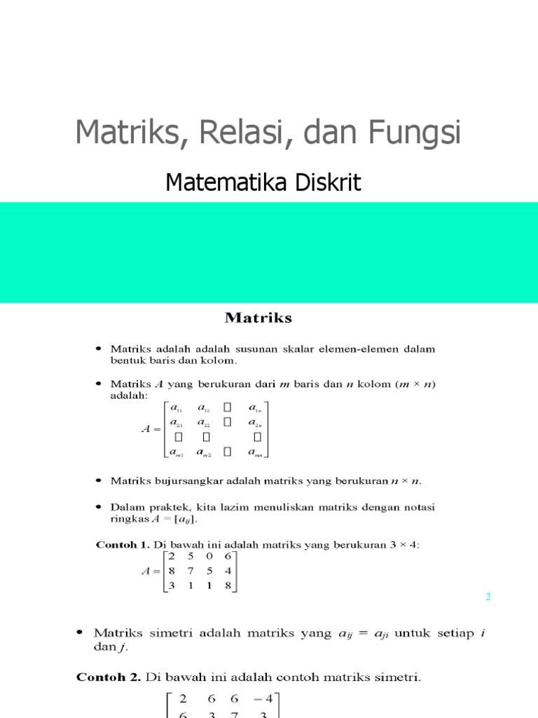Matriks Relasi Dan Fungsi