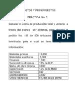 Práctica No 3 y 4 Costeo Por Ordenes y Procesos