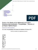 Portée Et Les Limites de La Diplomatie Préventive - Relations Internationales - Geopolitique - Théories Et Pratiques Diplomatiques