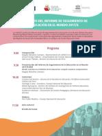 """Programa """"Lanzamiento del informe de seguimiento de la #Educación en el mundo 2017/8"""""""