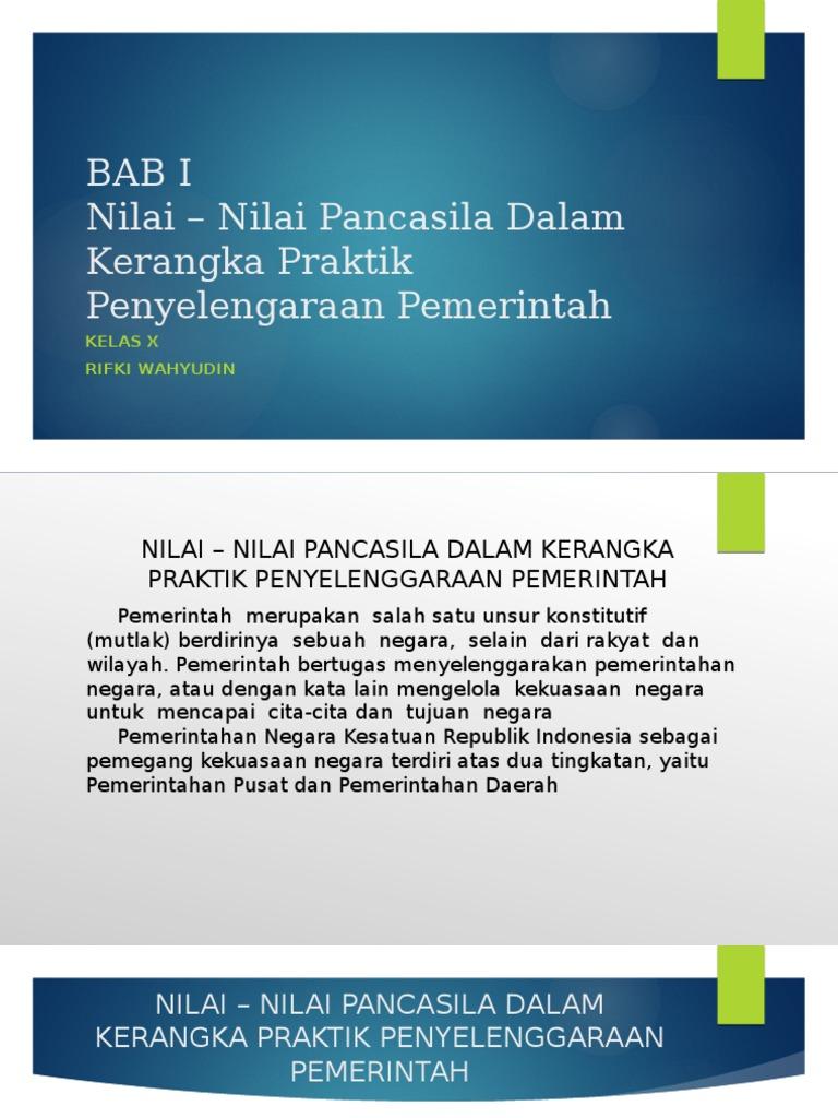 Bab I Nilai Nilai Pancasila Dalam Kerangka Praktik Penyelenggaraan Pemerintahan Negara