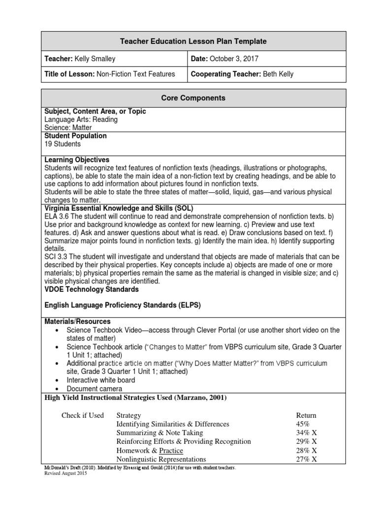 language arts 3 october 3 non-fiction text features | Lesson Plan ...