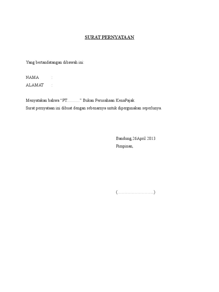 Contoh Surat Pernyataan Non Pkp