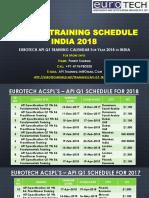 API-U Q1 9th Edition Training Schedule Calendar 2018