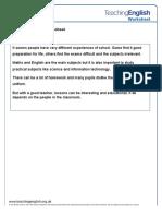 School Worksheet