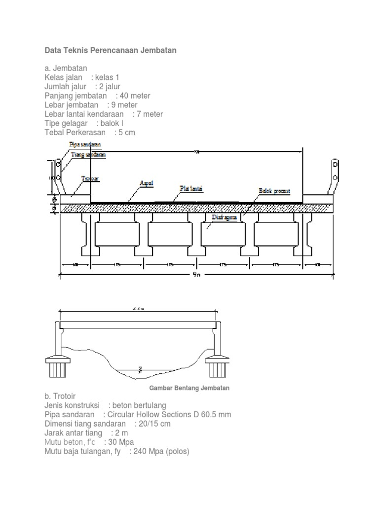 Data teknis perencanaan jembatan 1534613434v1 ccuart Choice Image