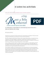 Comunicado del colegio Mare de Dèu de Montserral