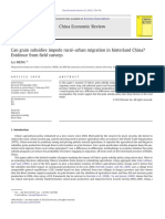 Can Grain Subsidies Impede Rural-urban Migration in Hinterland China Evidence From Field Surveys