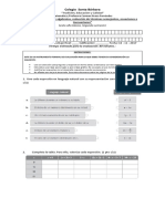 Evaluación Ecuaciones e Inecuaciones y Lenguaje Algebraico Sexto Año