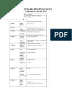 Calendario Presentaciones Laboratorio Cuerpos 2016-2