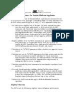 Summary of Procedures for Standard Pathway Applicants