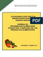 Normas de Informacion Alimentaria Etiquetado 2016