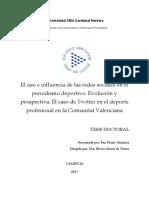 El Uso e Influencia de Las Redes Sociales en El Periodismo Deportivo_evolución y Prospectiva_el Caso de Twitter en El Deporte Profesional en La Comunitat Valenciana