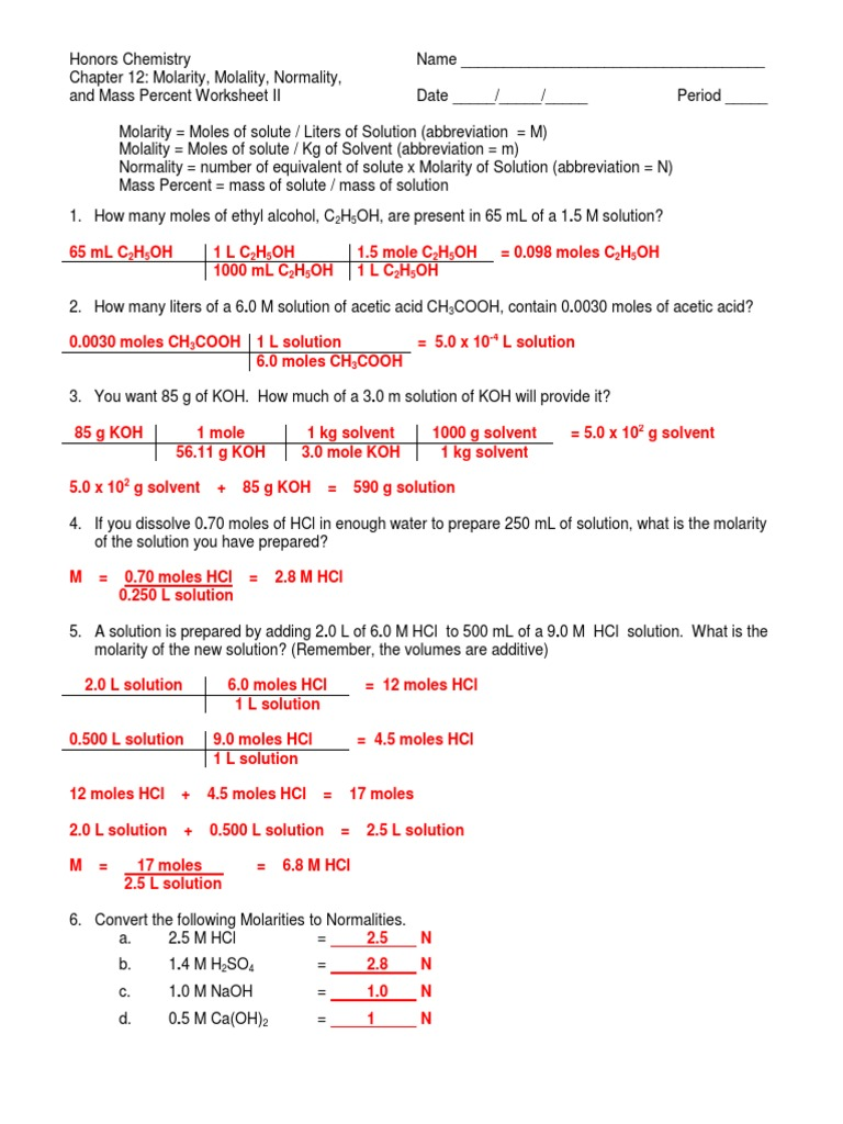Molarity, Molality, Normality, and Mass Percent Worksheet II Answer ...