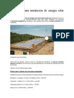 Calculo de Una Instalación de Energía Solar Fotovoltaica