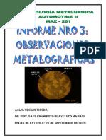Informe de Observaciones Metalograficas