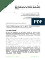 Notas del planteamiento para crear el Plan Nal. Integral de Socialización del Derecho de Acceso a la Información Pública