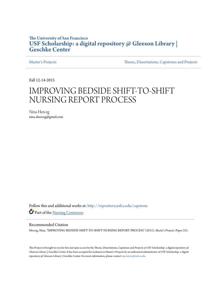 Improving Bedside Shift To Shift Nursing Report Process