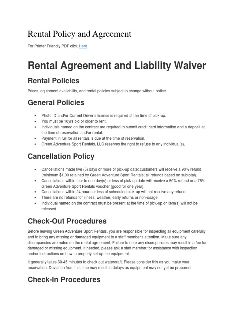 Rental Policy And Agreement Renting Indemnity