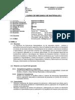 Silabo Mecanica de Materiales i 2017-II