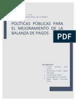 ALTERNATIVAS DE SOLUCIÓN PARA EL MEJORAMIENTO DE LA BALANZA DE PAGOS