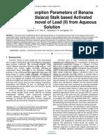 Journal Optimal Adsorption Parameters of Banana Musa Paradisiaca Stalk Based Activated Carbon