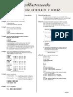 2013 Masterworks Order Form