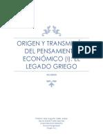 Origen y Transmisión Del Pensamiento Económico