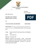 DPP Gauteng v Oscar Leonard Carl Pistorius Judgment